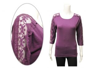 Wholesale Womens Long Sleeve Tops - Wholesale Womens Ex Chainstore 3/4 Sleeve Top Lace Trim Purple